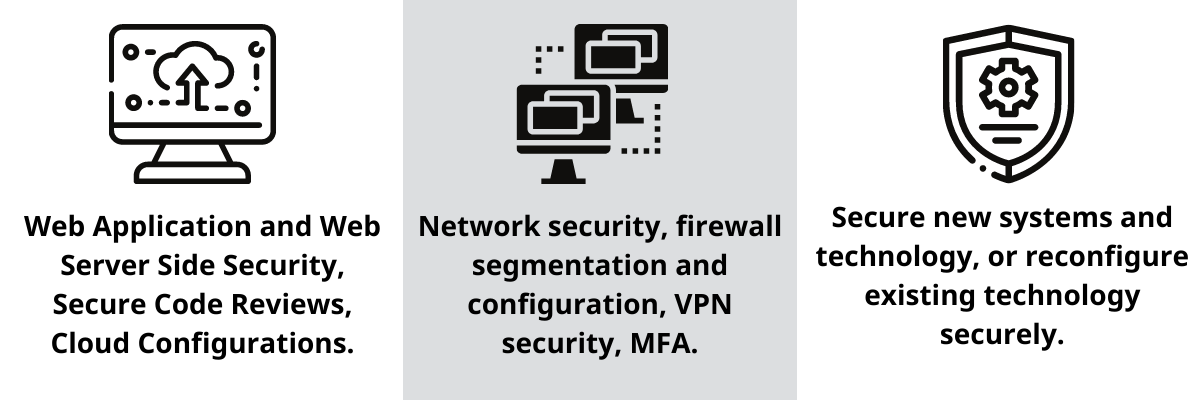 Network security, firewall segmentation and configuration, VPN security, MFA