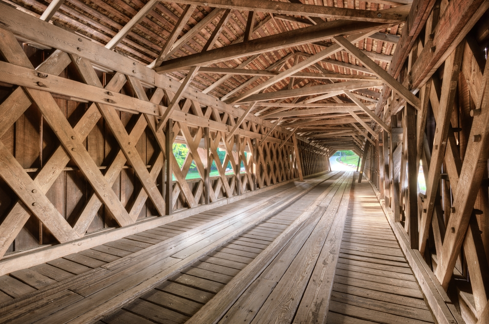 Interior of an old covered bridge in Watson Mill State Park, Georgia, USA.